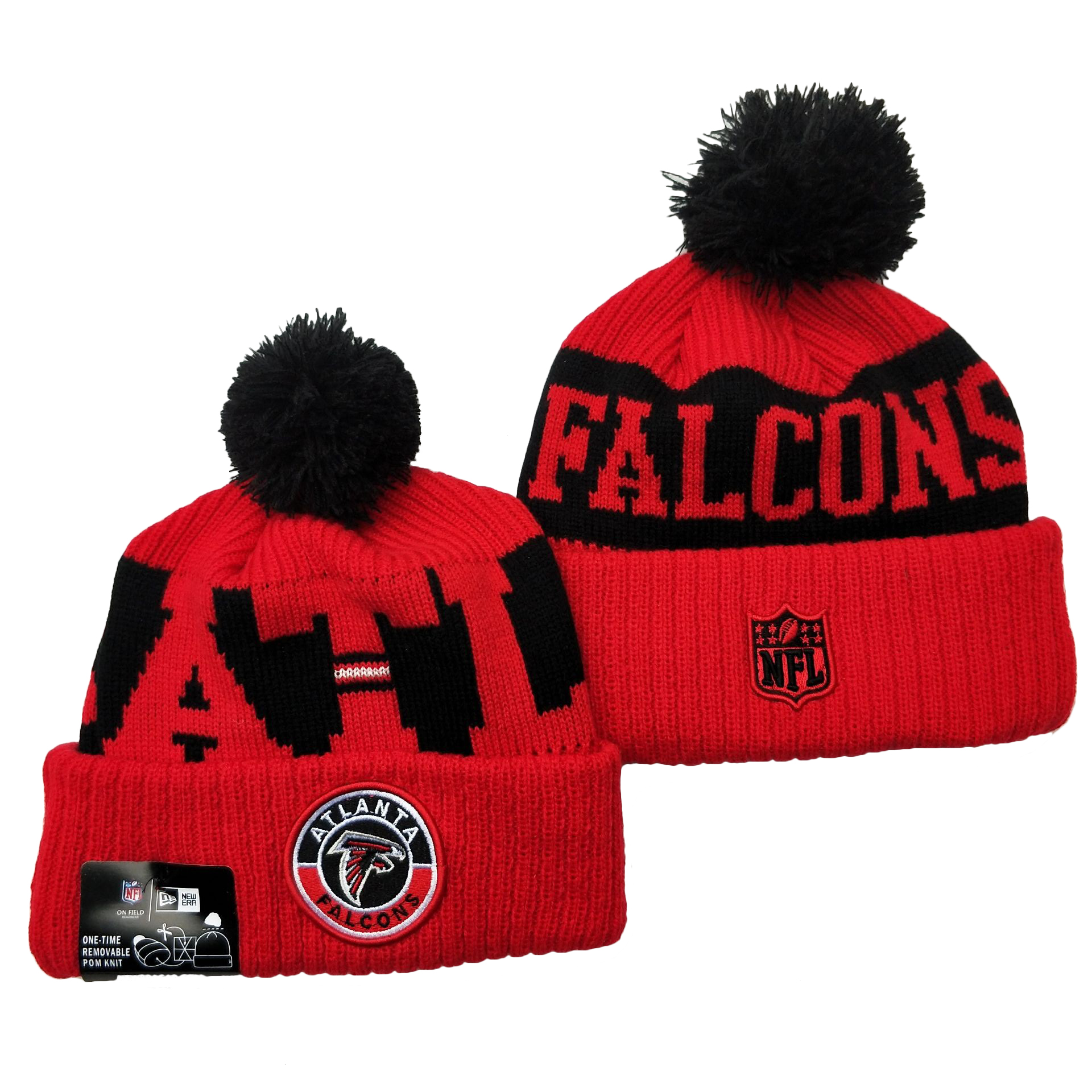 Falcons Team Logo Red 2020 NFL Sideline Pom Cuffed Knit Hat YD