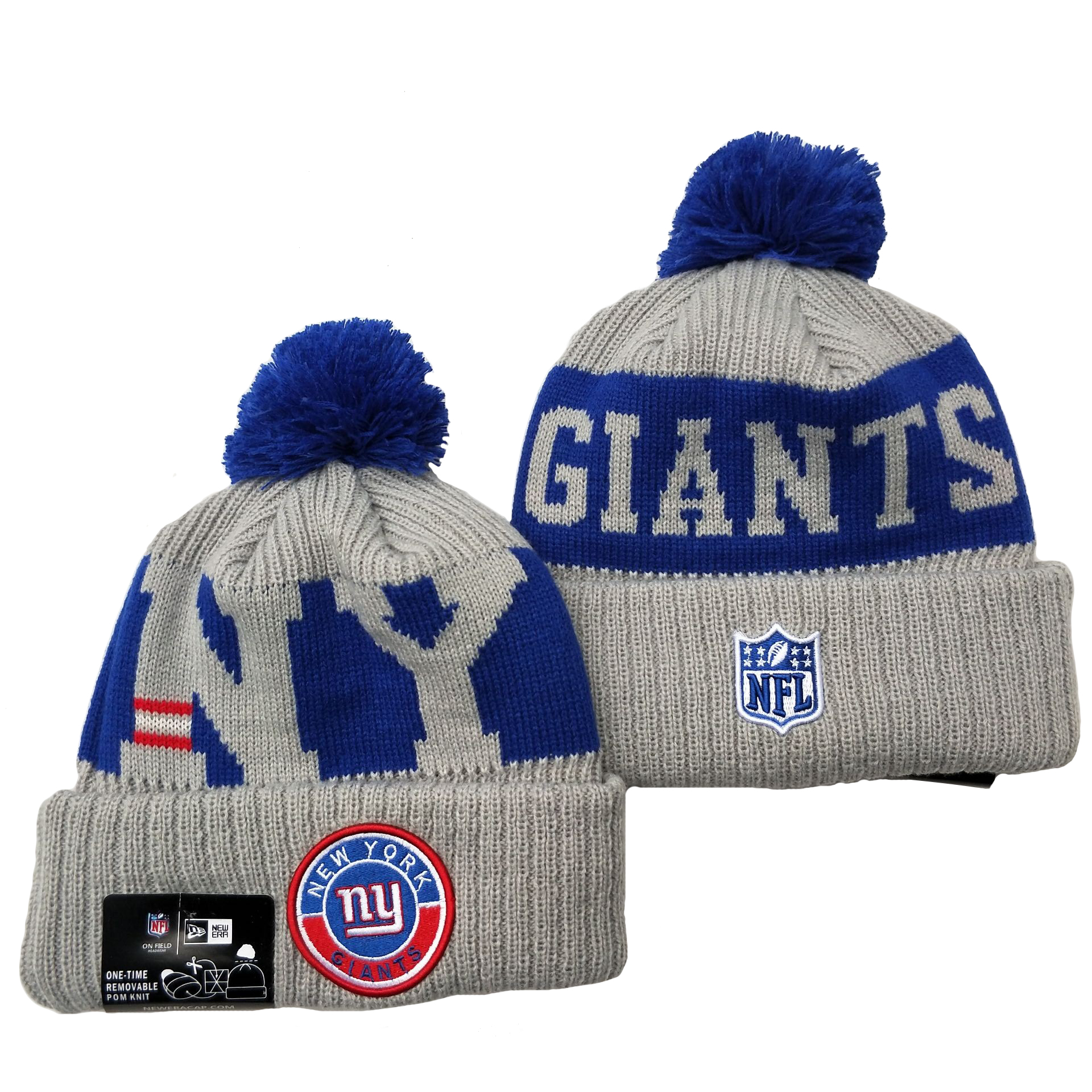 New York Giants Team Logo Gray 2020 NFL Sideline Pom Cuffed Knit Hat YD