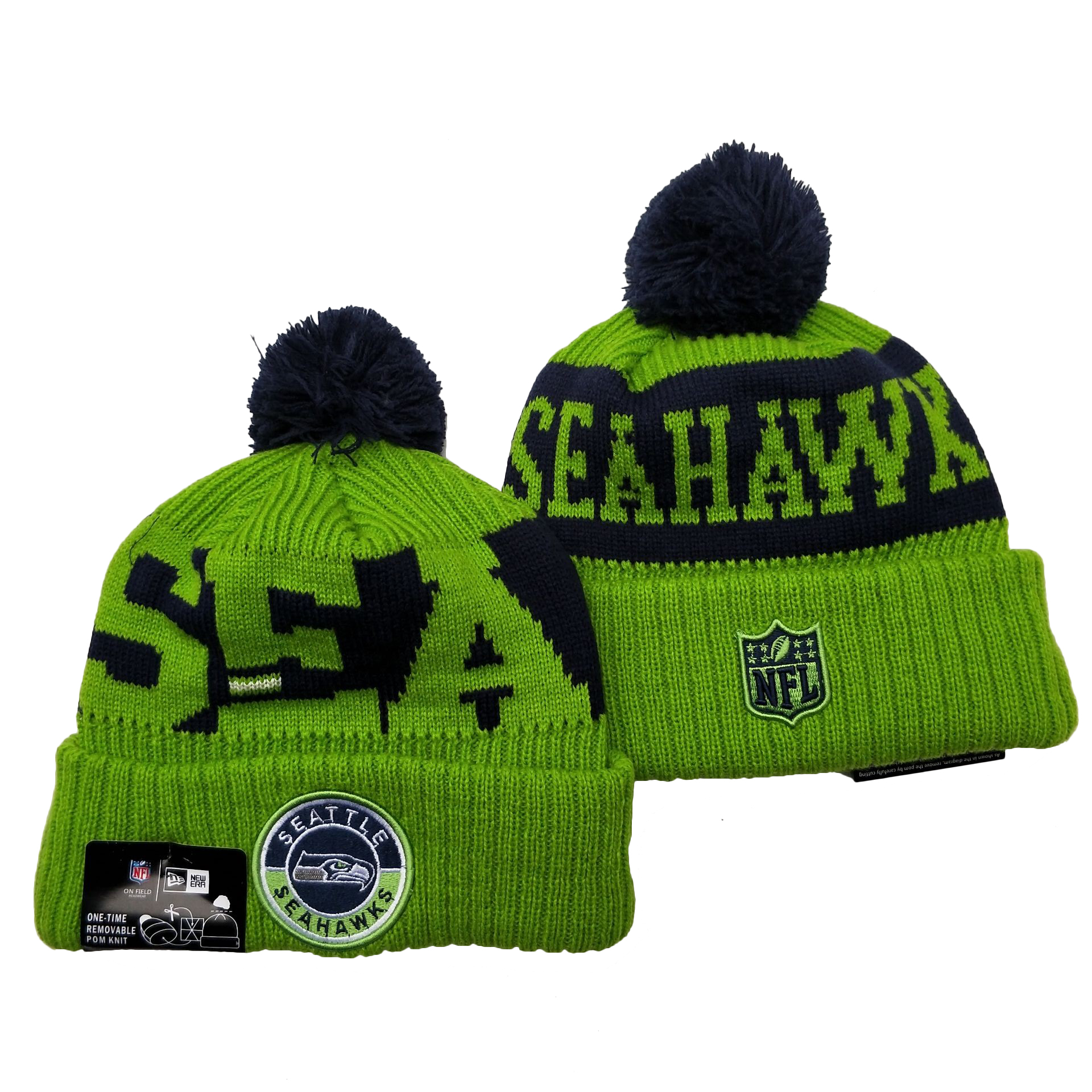 Seahawks Team Logo Green 2020 NFL Sideline Pom Cuffed Knit Hat YD