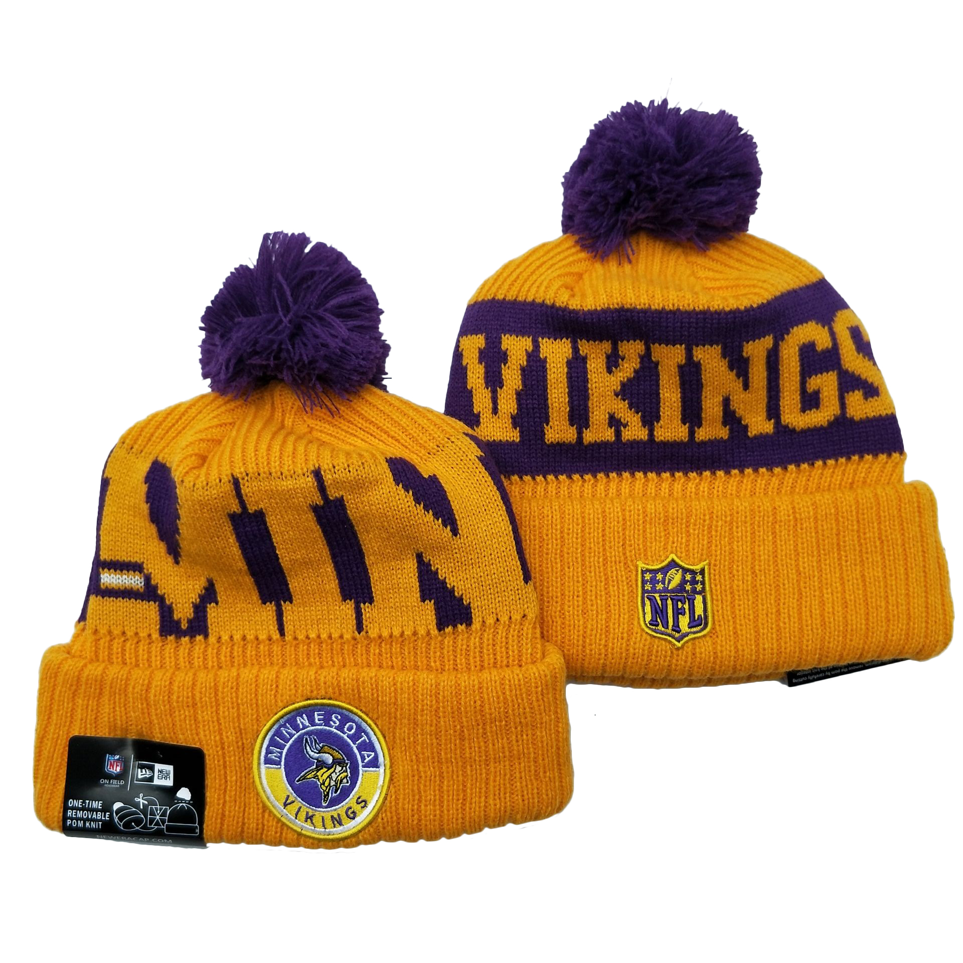 Vikings Team Logo Yellow 2020 NFL Sideline Pom Cuffed Knit Hat YD