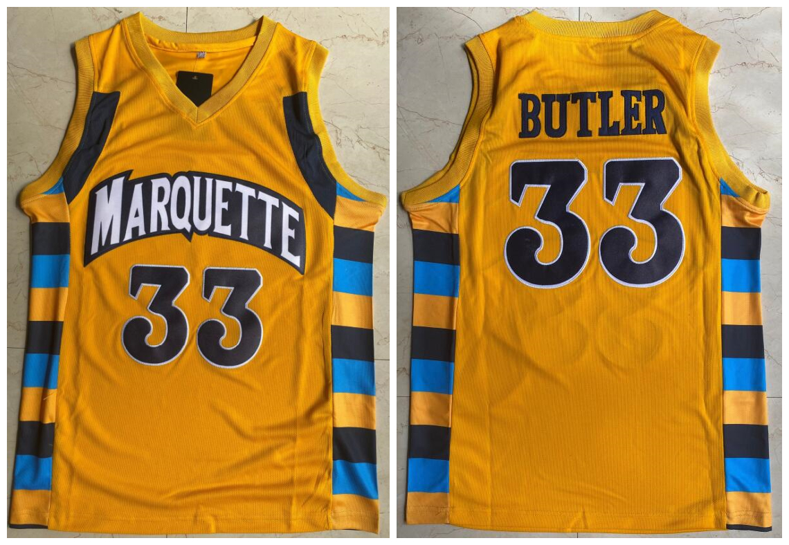 Marquette 33 Jimmy Butler Yellow College Basketball Jersey