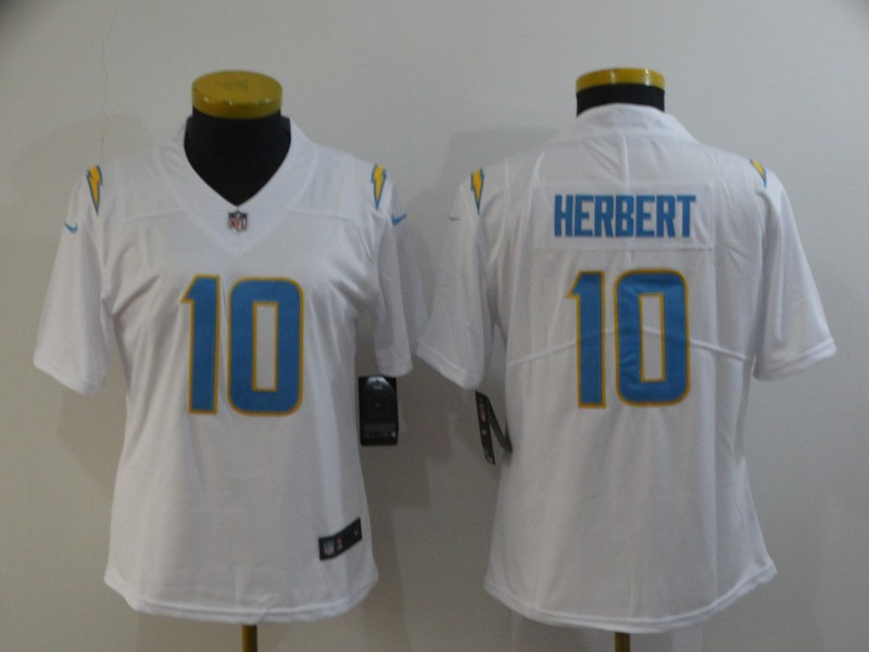 Nike Chargers 10 Justin Herbert White Women Vapor Untouchable Limited Jersey