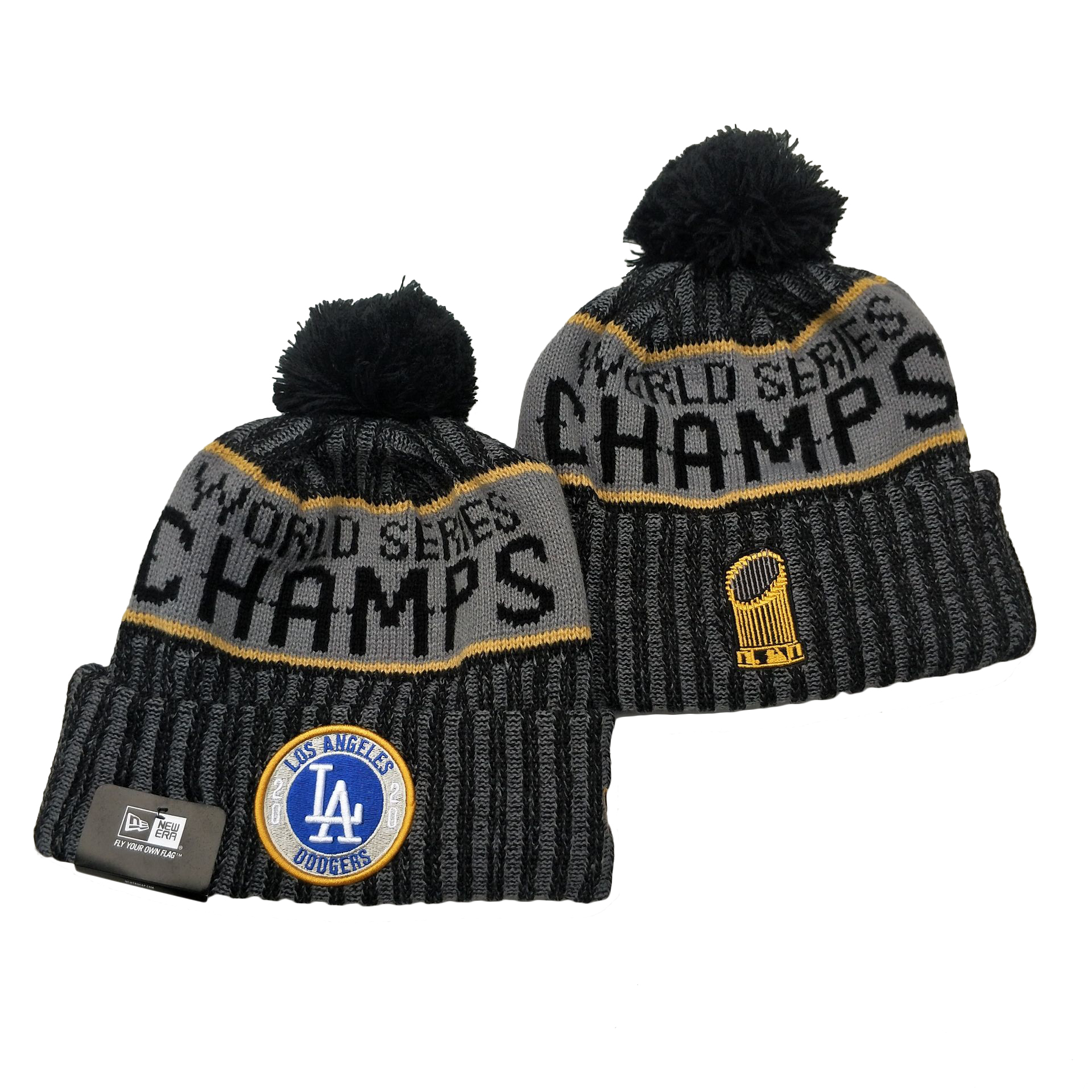 Dodgers Team Logo Gray 2020 World Series Champions Cuffed Pom Knit Hat YD