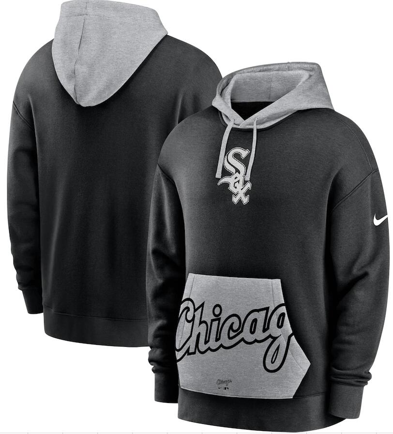 Men's Chicago White Sox Nike Black Gray Heritage Tri Blend Pullover Hoodie