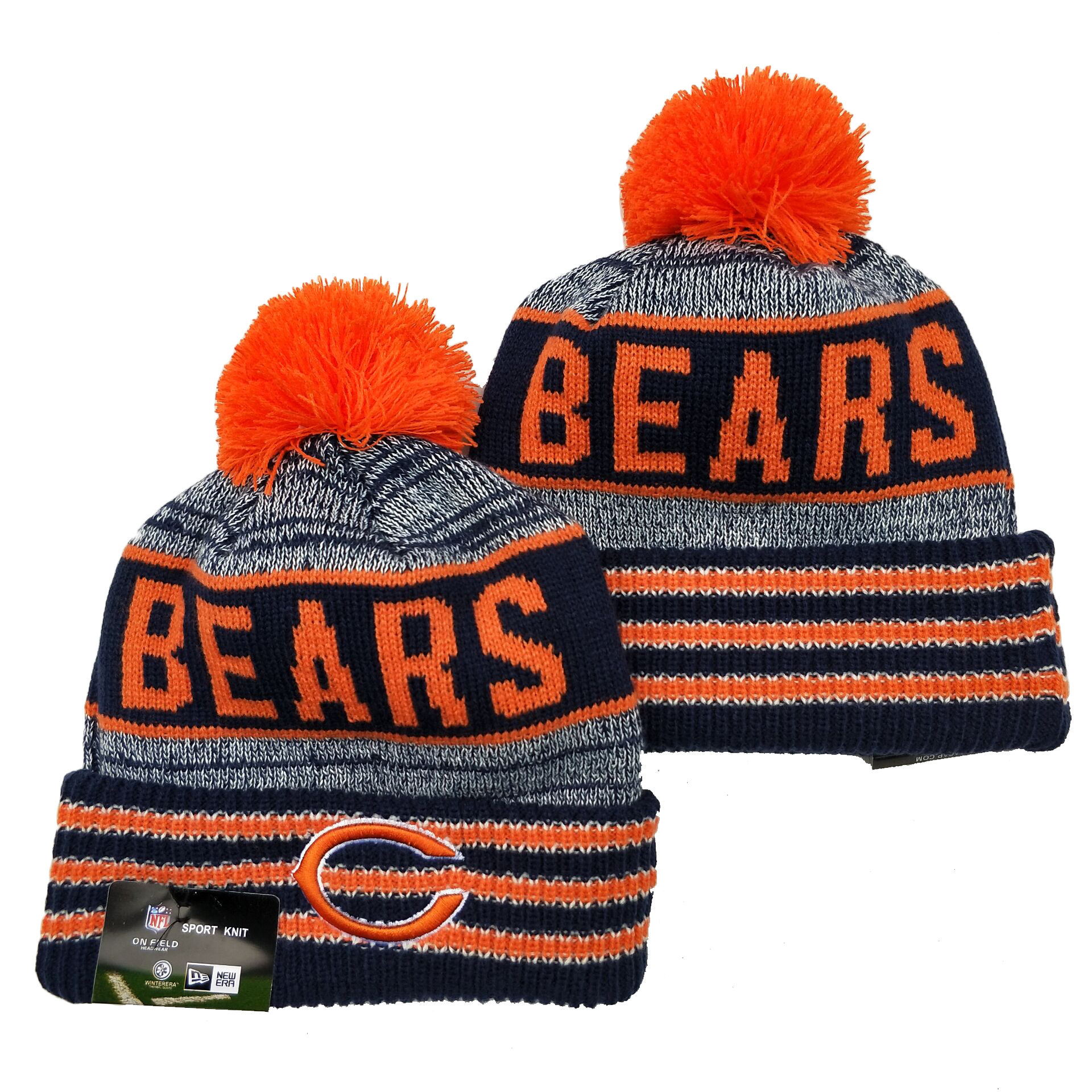 Bears Team Logo Navy Orange Pom Cuffed Knit Hat YD