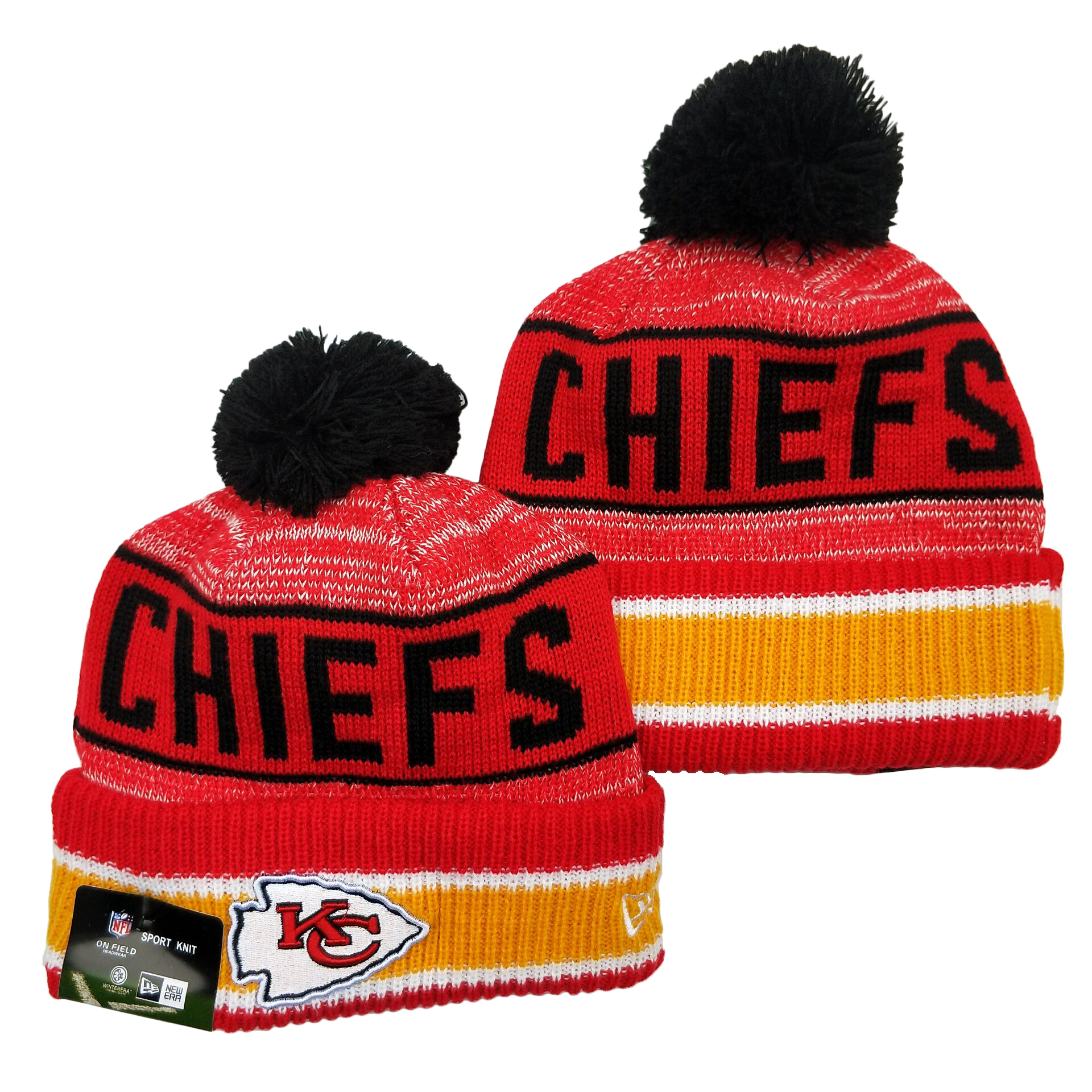 Chiefs Team Logo Red Pom Cuffed Knit Hat YD