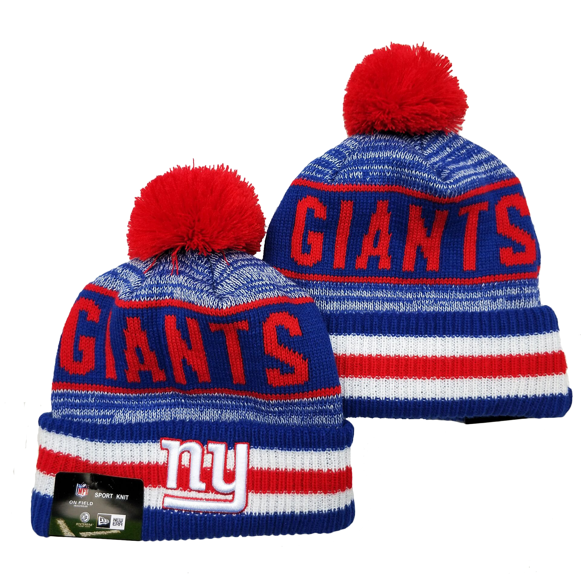 New York Giants Team Logo Royal Red Pom Cuffed Knit Hat YD