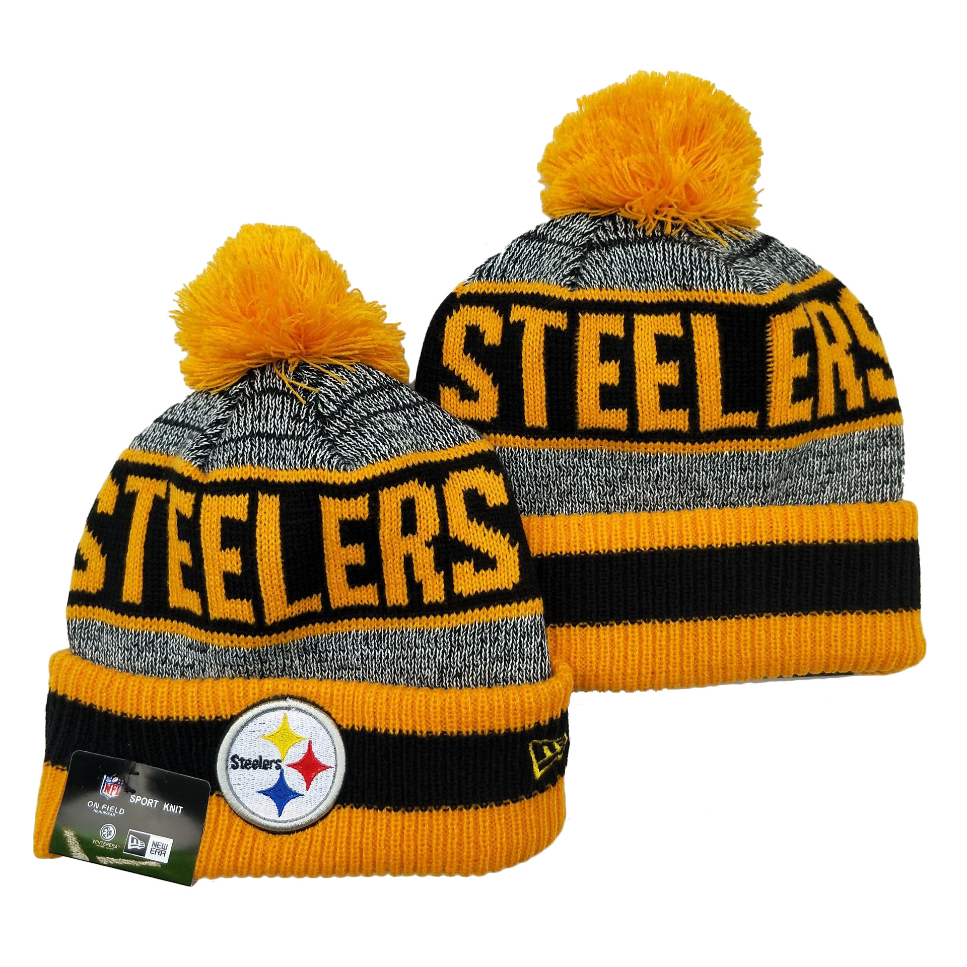 Steelers Team Logo Yellow Pom Cuffed Knit Hat YD