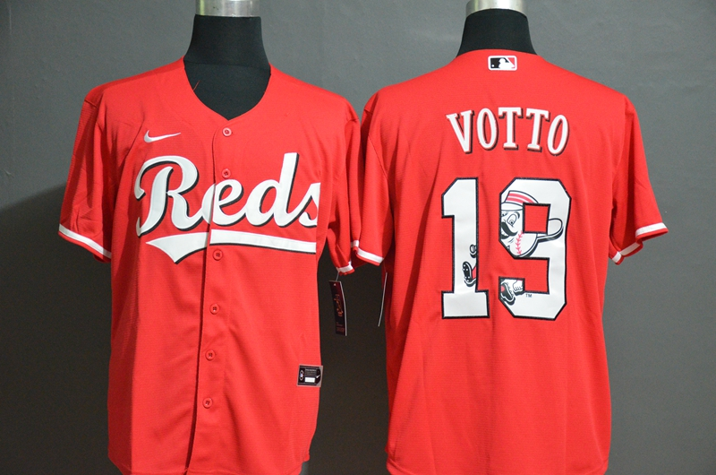 Reds 19 Joey Votto Red 2020 Nike Cool Base Fashion Jersey