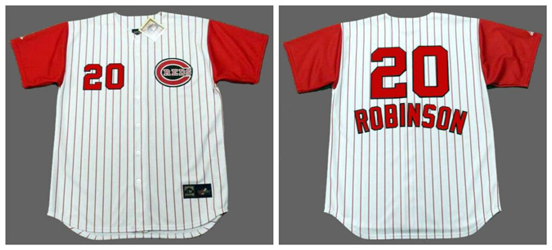 Reds 20 Frank Robinson White 1960's Throwback Cool Base Jersey