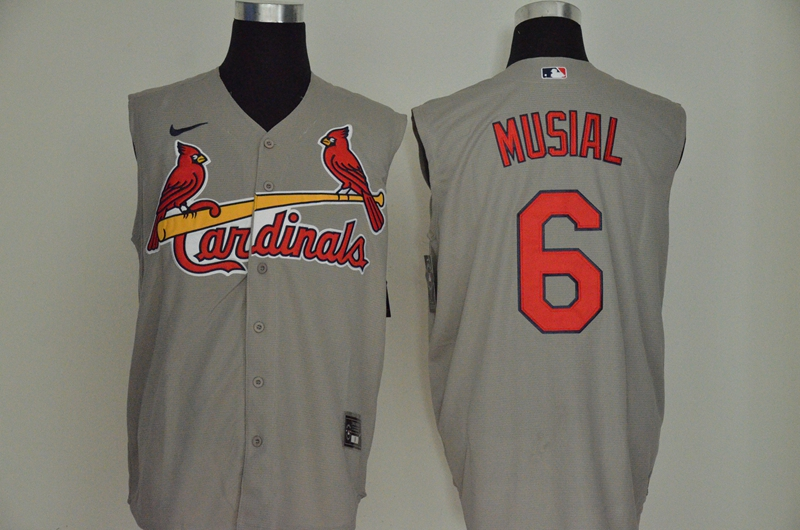 Cardinals 6 Stan Musial Gray Nike Cool Base Sleeveless Jersey