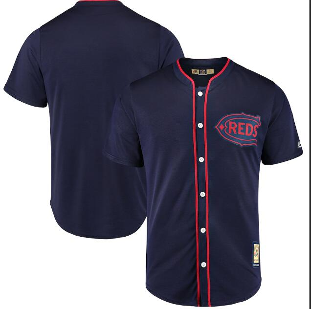 Reds Blank Navy 1911 Throwback Cool Base Jersey