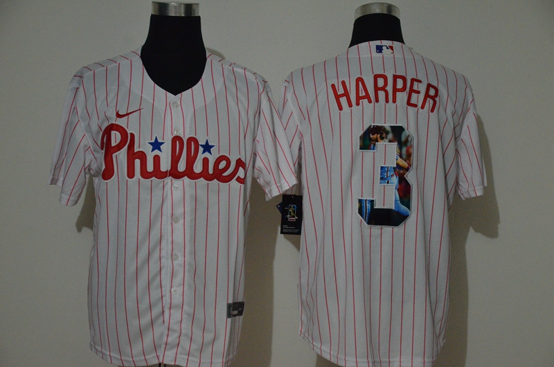 Phillies 3 Bryce Harper White Nike Cool Base Player Jersey