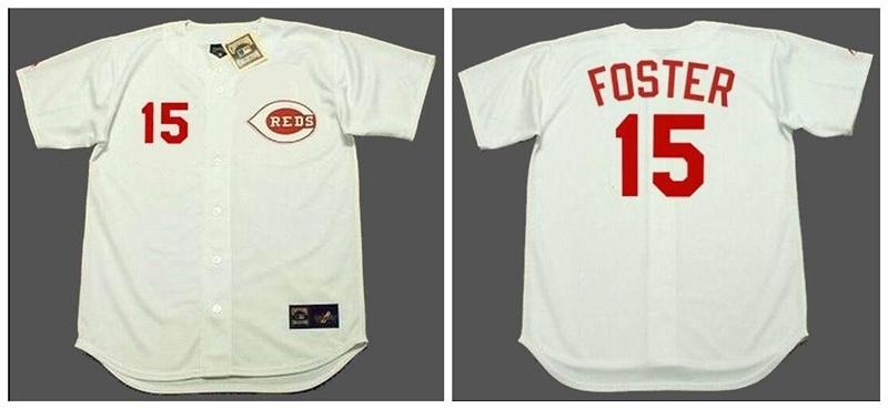 Reds 15 George Foster White 1971's Throwback Cool Base Jersey