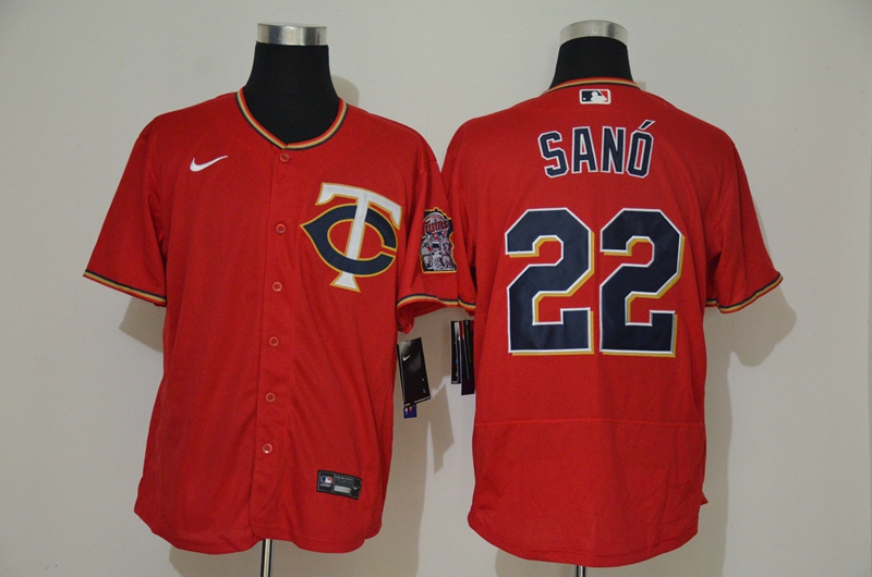 Twins 22 Miguel Sano Red 2020 Nike Cool Base Jersey