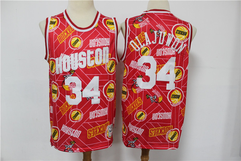 Rockets 34 Hakeem Olajuwon Red Hardwood Classics Tear Up Pack Swingman Jersey