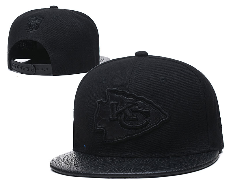 Chiefs Team Logo All Black Adjustable Hat TX