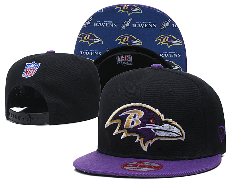 Ravens Team Logo Black Purple Adjustable Hat TX