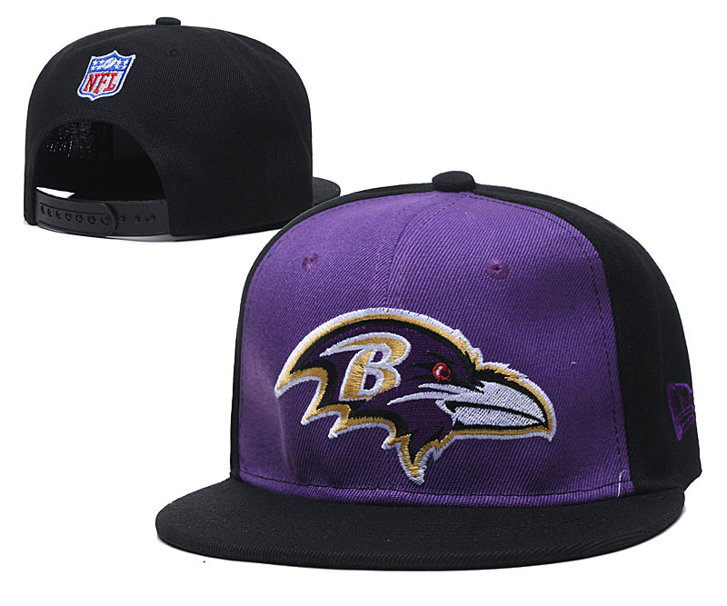 Ravens Team Logo Purple Black Adjustable Hat TX