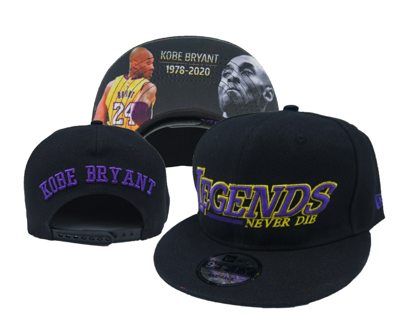 Lakers Team Logo 24 Kobe Bryant Black Adjustable Hats YD