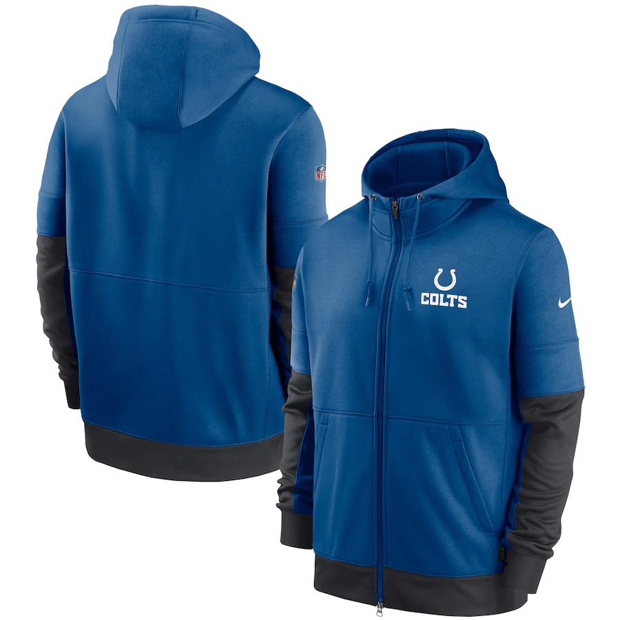 Men's Indianapolis Colts New 2020 Nike Blue Gray Fan Gear Mascot Performance Full Zip Hoodie