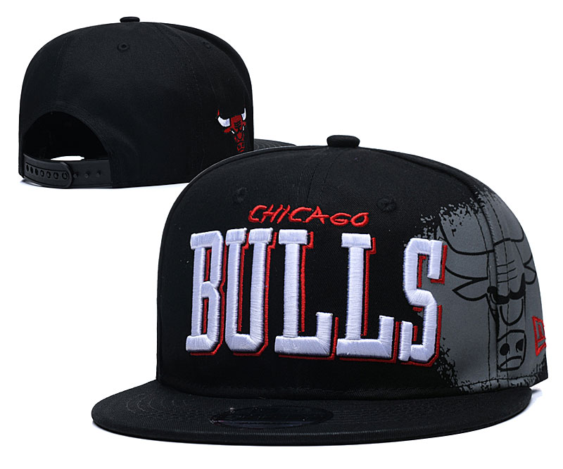Bulls Team Logo Black Adjustable Hat YD