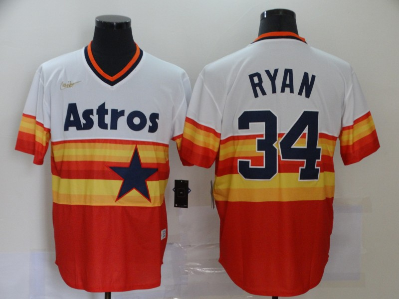 Astros 34 Nolan Ryan Multi Color Nike Cooperstown Collection Jersey