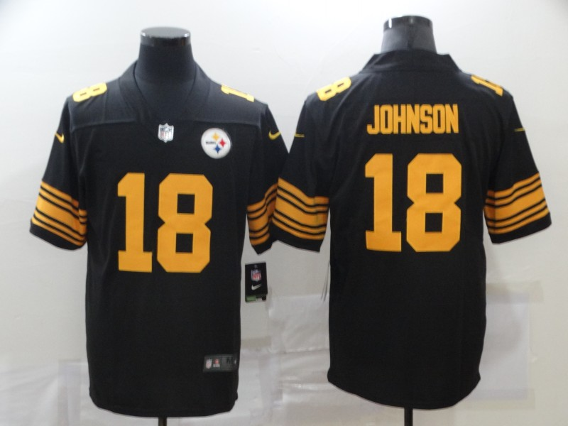 Nike Steelers 18 Diontae Johnson Black Color Rush Limited Jersey