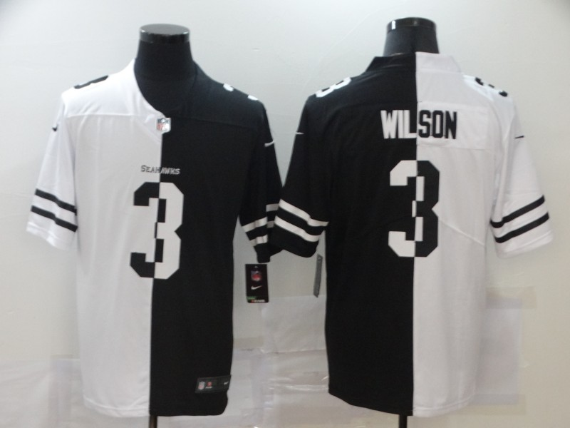 Nike Seahawks 3 Russell Wilson Black And White Split Vapor Untouchable Limited Jersey