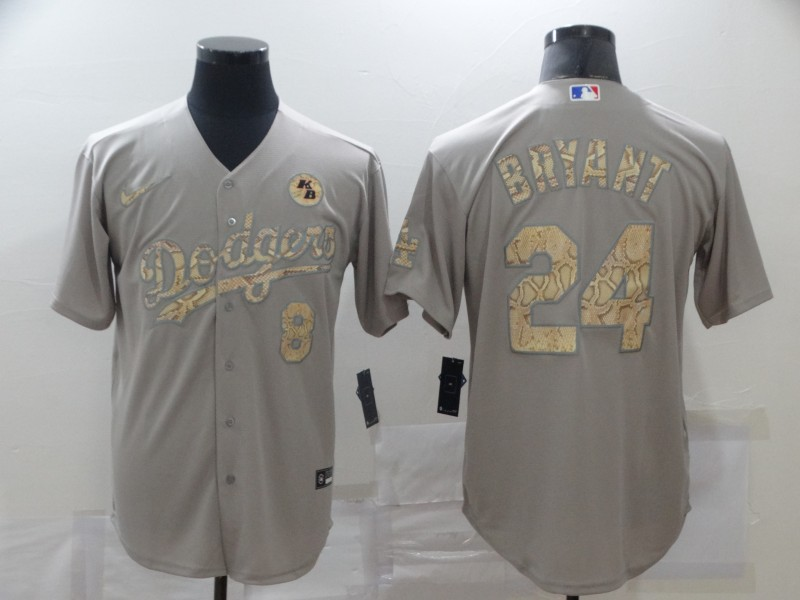 Dodgers 8 & 24 Kobe Bryant Gray Gold 2020 Nike KB Cool Base Jersey