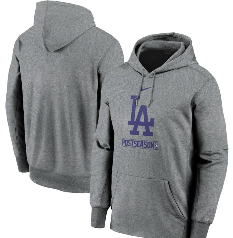 Men's Los Angeles Dodgers Nike Gray 2020 Postseason Collection Pullover Hoodie