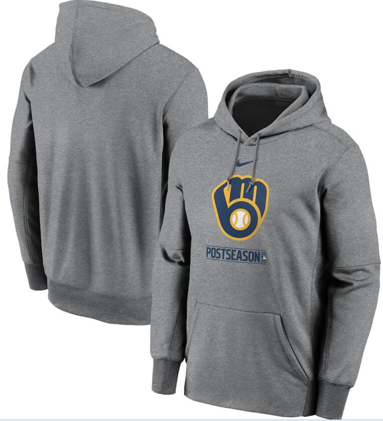 Men's Milwaukee Brewers Nike Gray 2020 Postseason Collection Pullover Hoodie