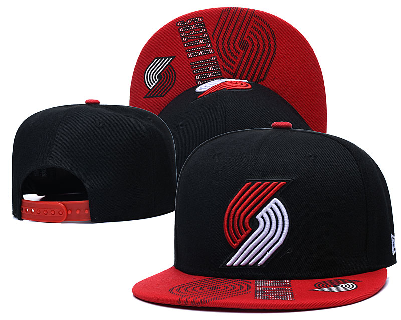 Blazers Team Logo Black Red Adjustable Hat GS