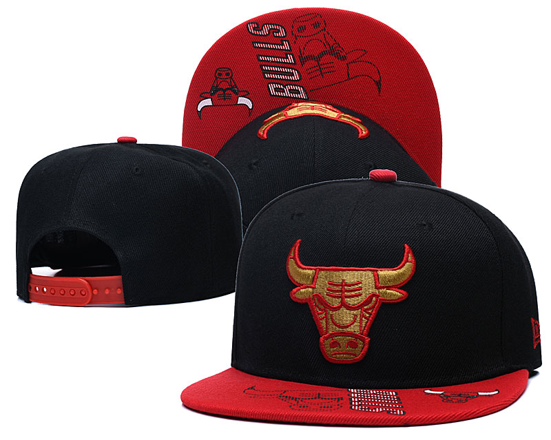 Bulls Team Logo Black Red Adjustable Hat GS