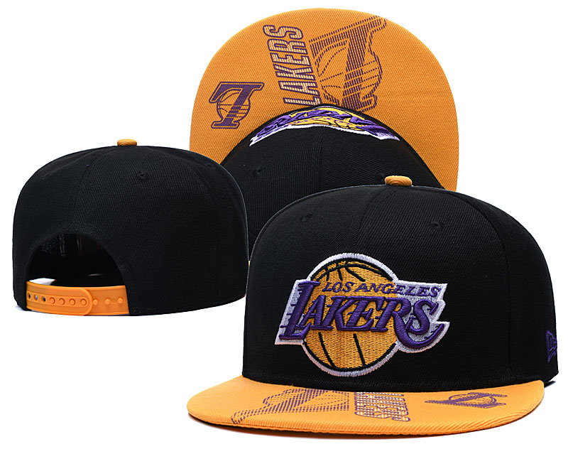 Lakers Team Logo Black Yellow Adjustable Hat GS