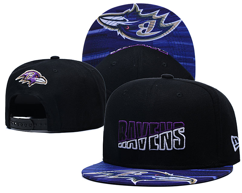 Ravens Team Logo Black 2020 NFL Summer Sideline Adjustable Hat YD