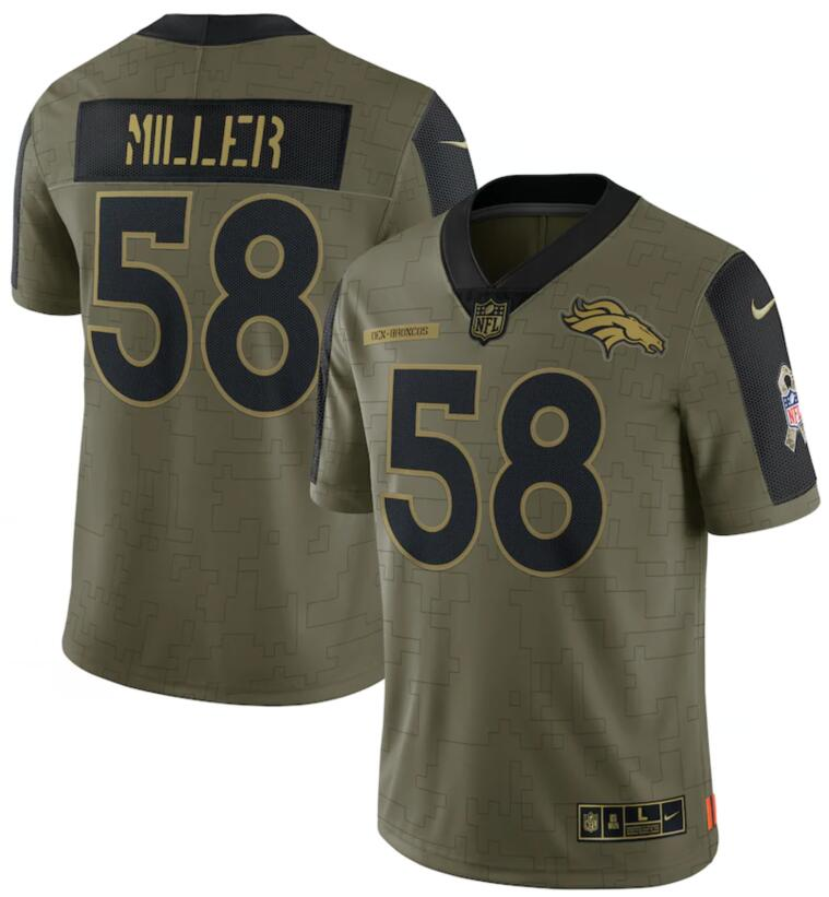 Nike Broncos 58 Von Miller Olive 2021 Salute To Service Limited Jersey