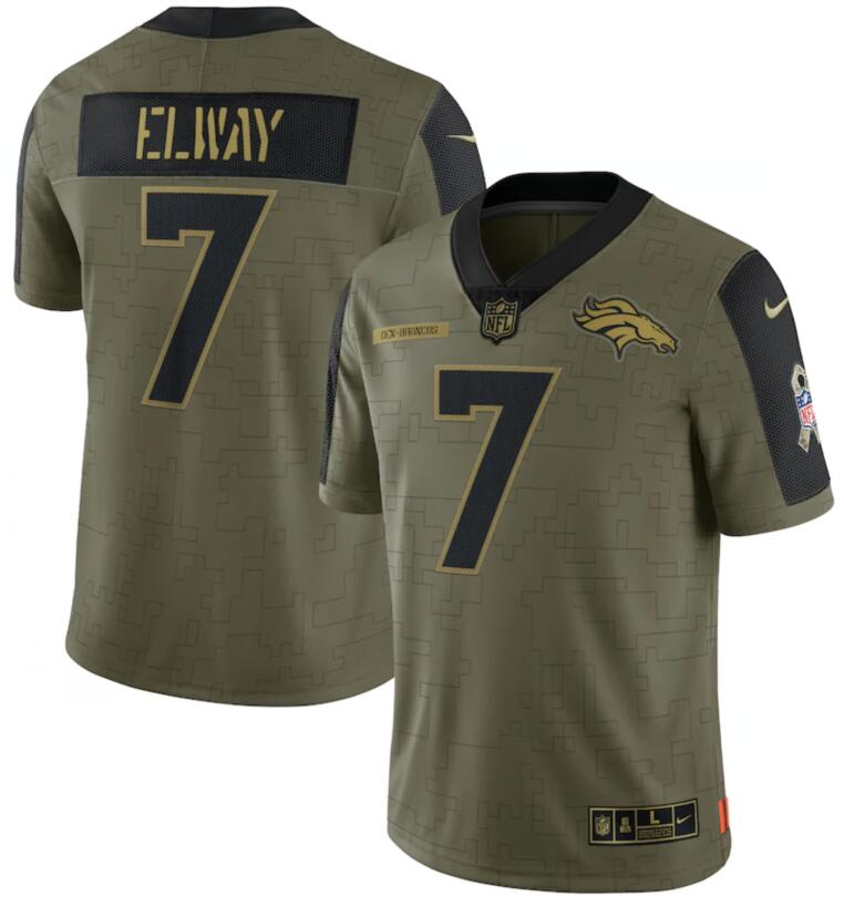 Nike Broncos 7 John Elway Olive 2021 Salute To Service Limited Jersey