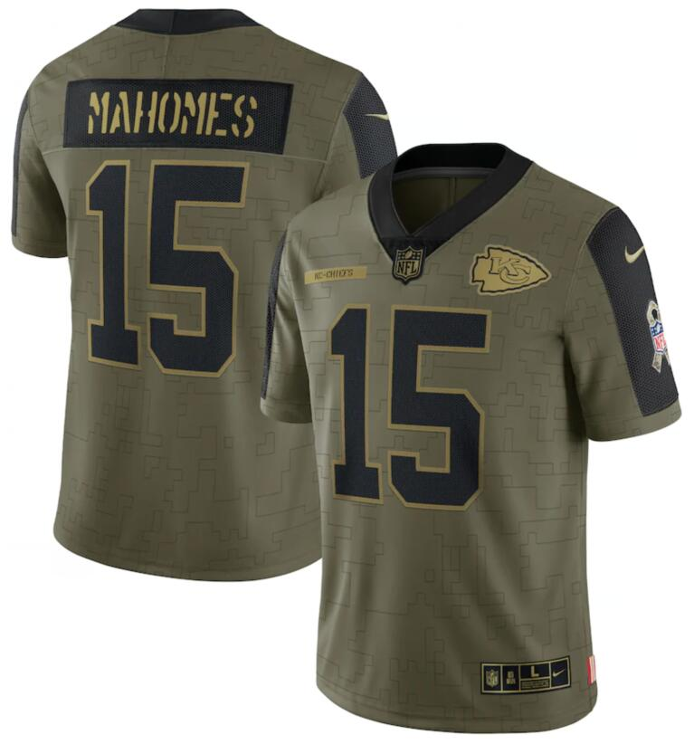 Nike Chiefs 15 Patrick Mahomes Olive 2021 Salute To Service Limited Jersey