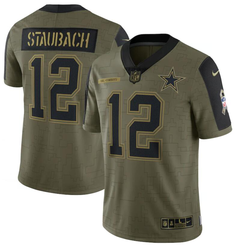 Nike Cowboys 12 Roger Staubach Olive 2021 Salute To Service Limited Jersey