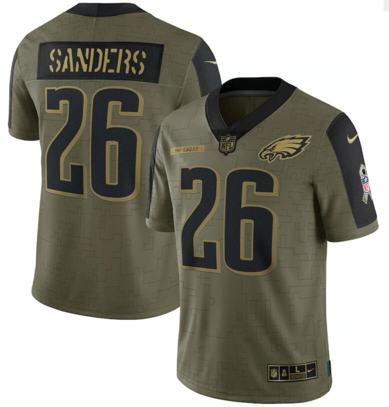 Nike Eagles 26 Miles Sanders Olive 2021 Salute To Service Limited Jersey