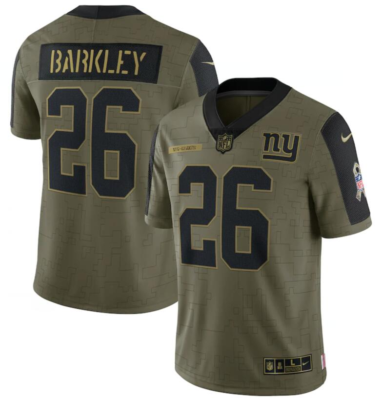 Nike Giants 26 Saquon Barkley Olive 2021 Salute To Service Limited Jersey