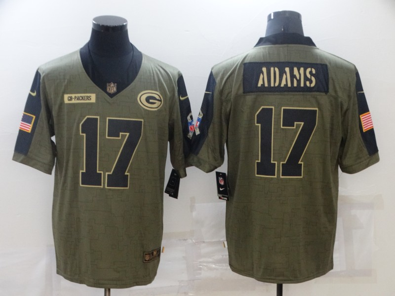 Nike Packers 17 Davante Adams Olive 2021 Salute To Service Limited Jersey