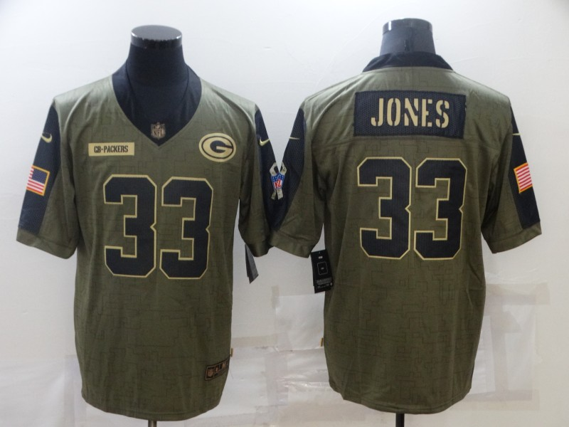 Nike Packers 33 Aaron Jones Olive 2021 Salute To Service Limited Jersey