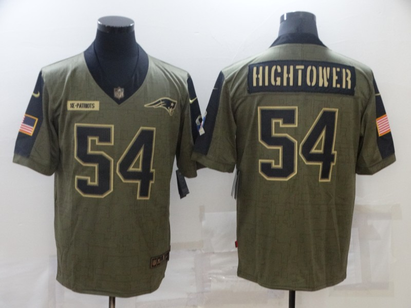 Nike Patriots 54 Dont'a Hightower Olive 2021 Salute To Service Limited Jersey