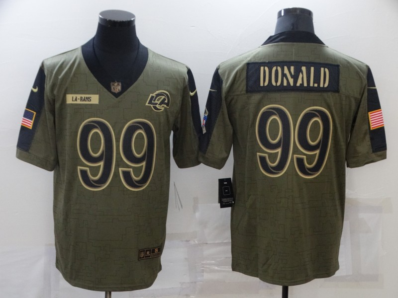 Nike Rams 99 Aaron Donald Olive 2021 Salute To Service Limited Jersey