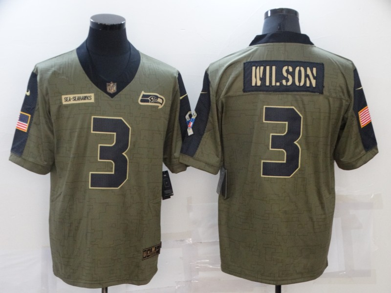 Nike Seahawks 3 Russell Wilson Olive 2021 Salute To Service Limited Jersey