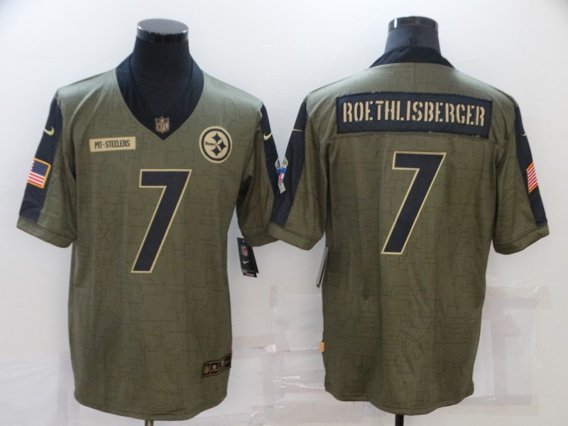 Nike Steelers 7 Ben Roethlisberger Olive 2021 Salute To Service Limited Jersey