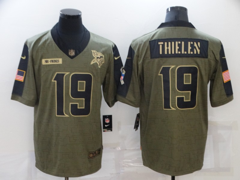 Nike Vikings 19 Adam Thielen Olive 2021 Salute To Service Limited Jersey