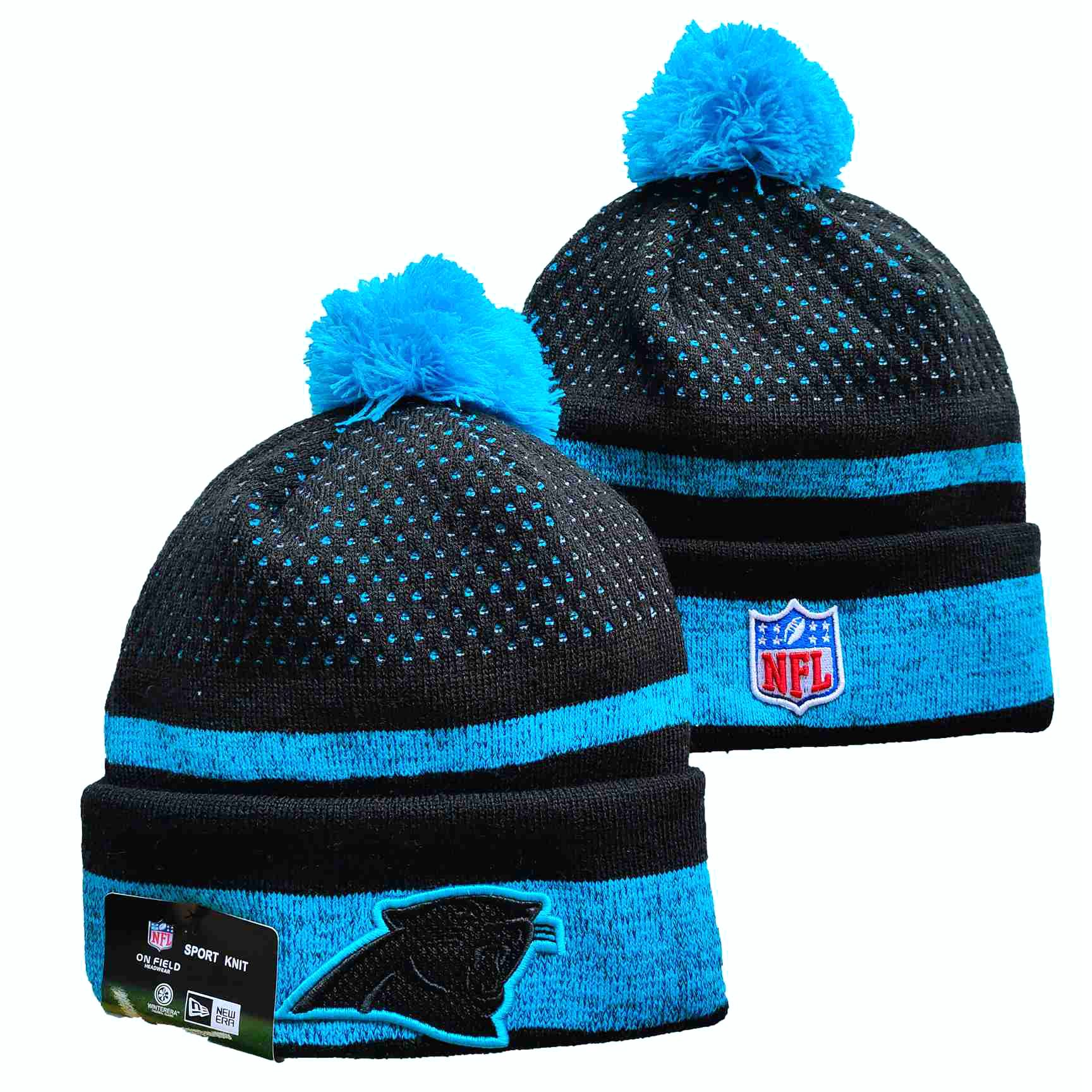 Panthers Team Logo Black and Blue Pom Cuffed Knit Hat YD